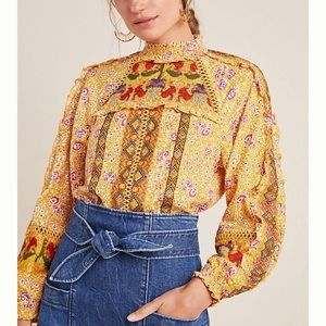 Goldie embroidered blouse- yellow motif